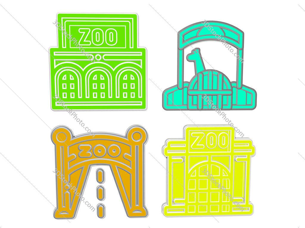 zoo 4 icons set