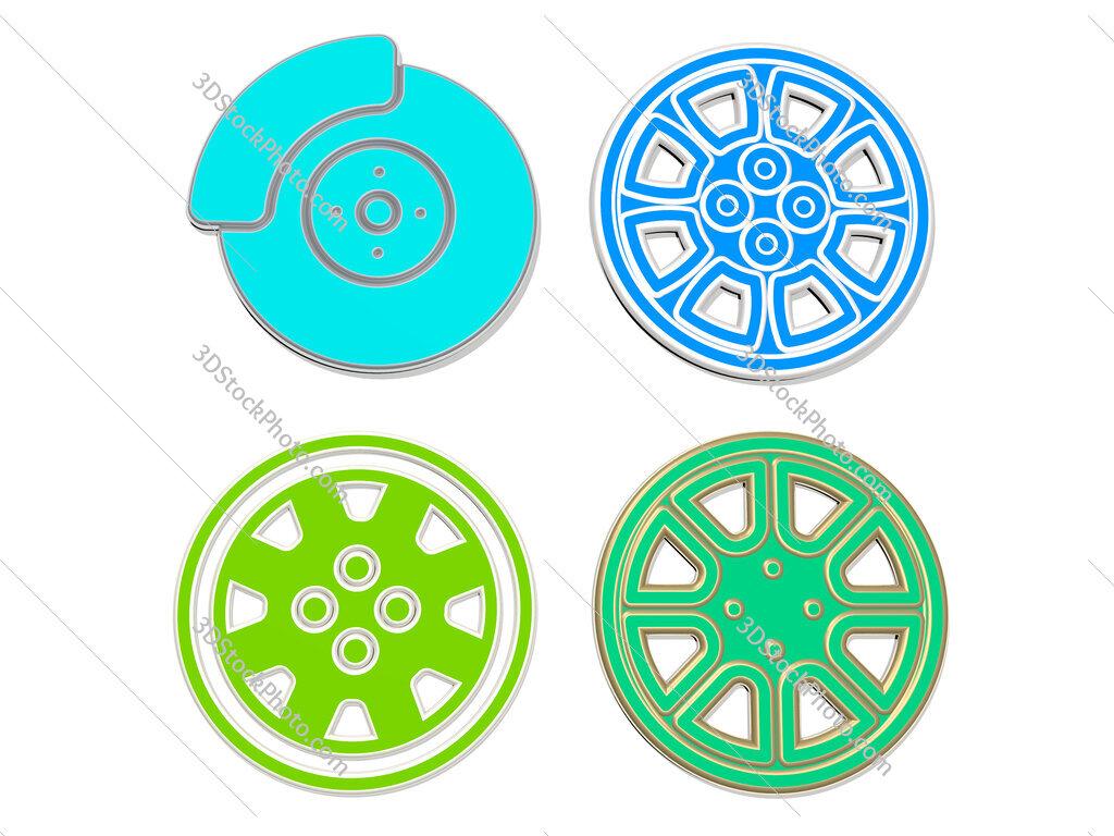 alloy wheel 4 icons set