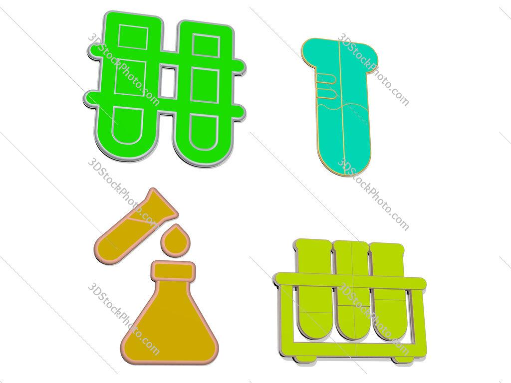 test tube 4 icons set
