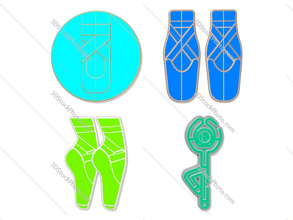 ballet 4 icons set