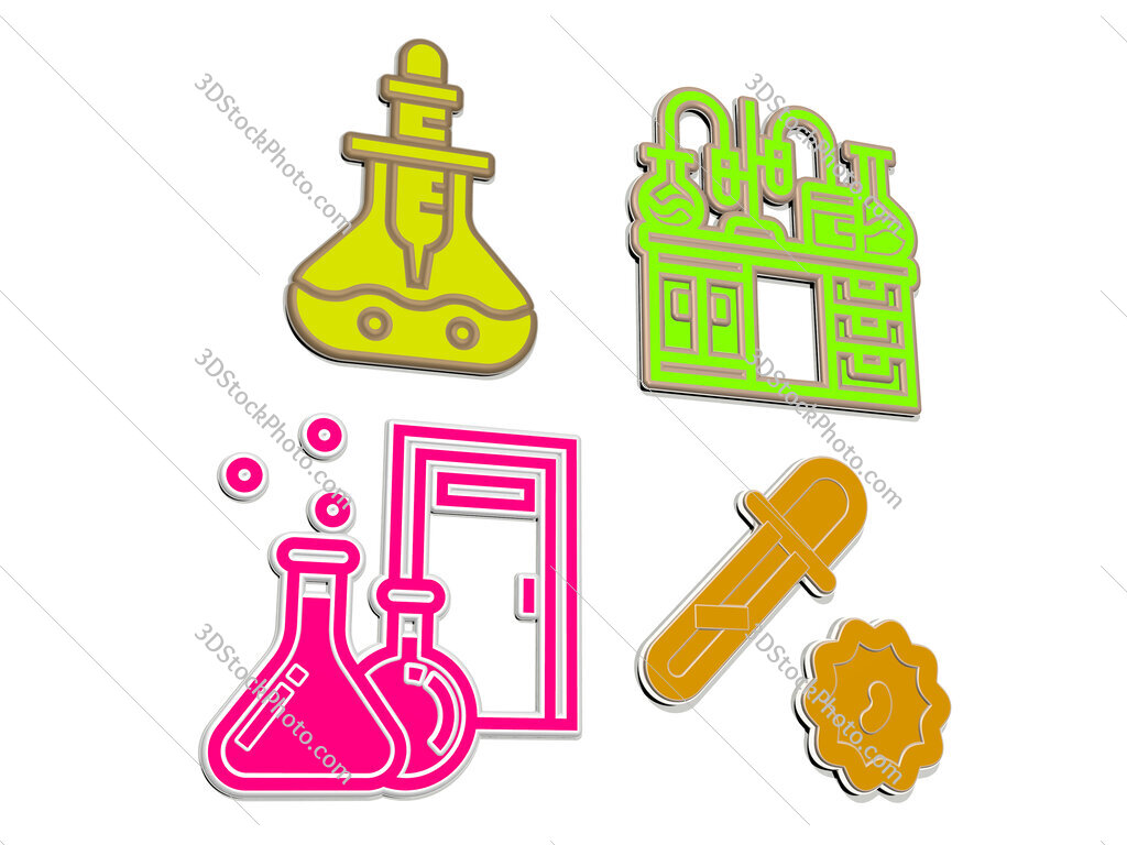 laboratory 4 icons set
