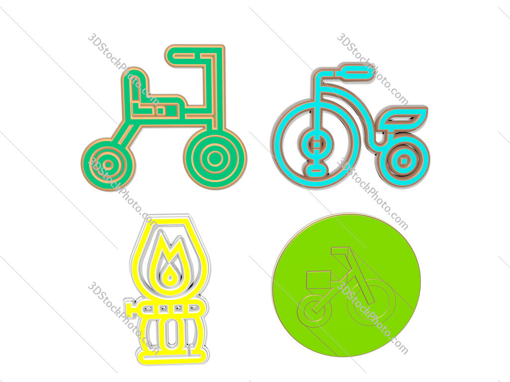 tricycle 4 icons set