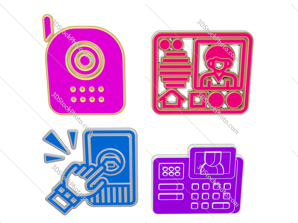 intercom 4 icons set