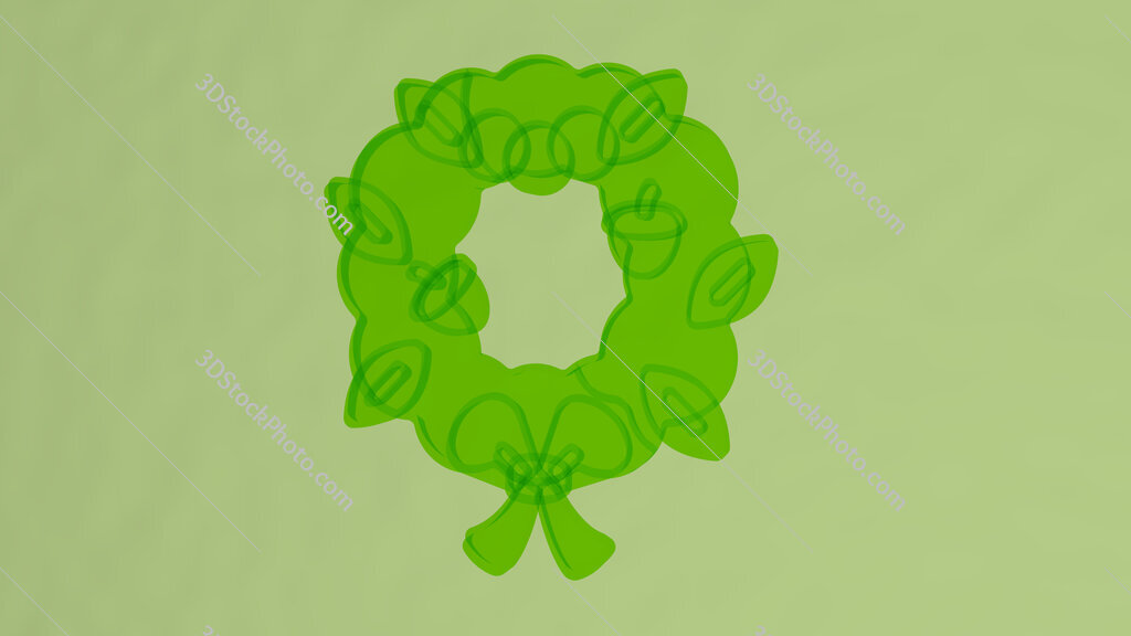 christmas wreath 3D icon on the wall