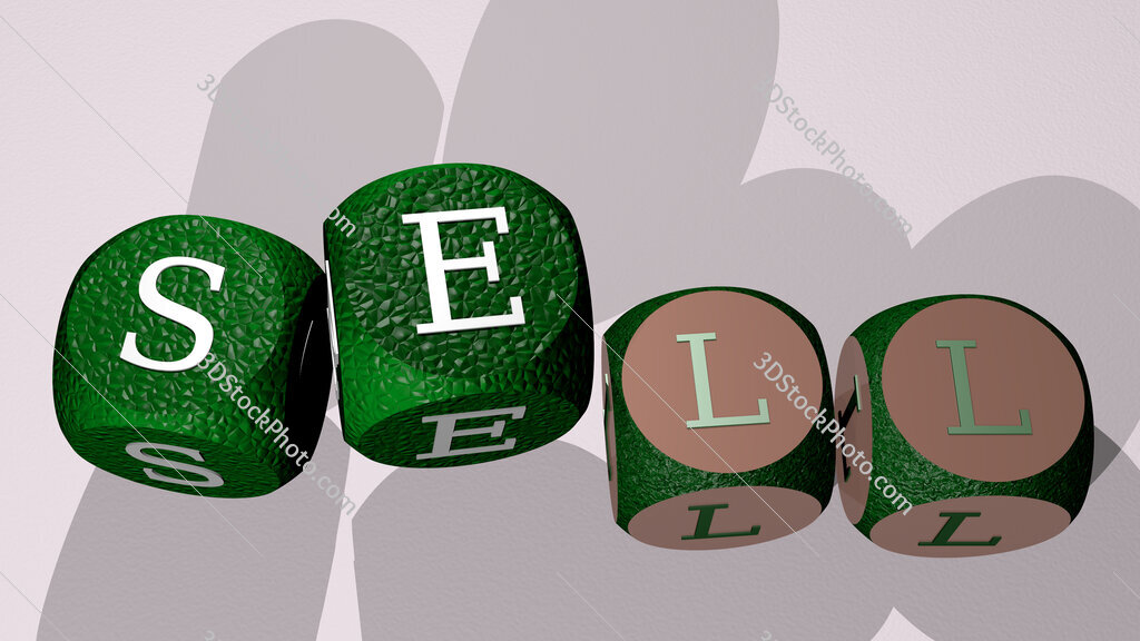 sell text by dancing dice letters