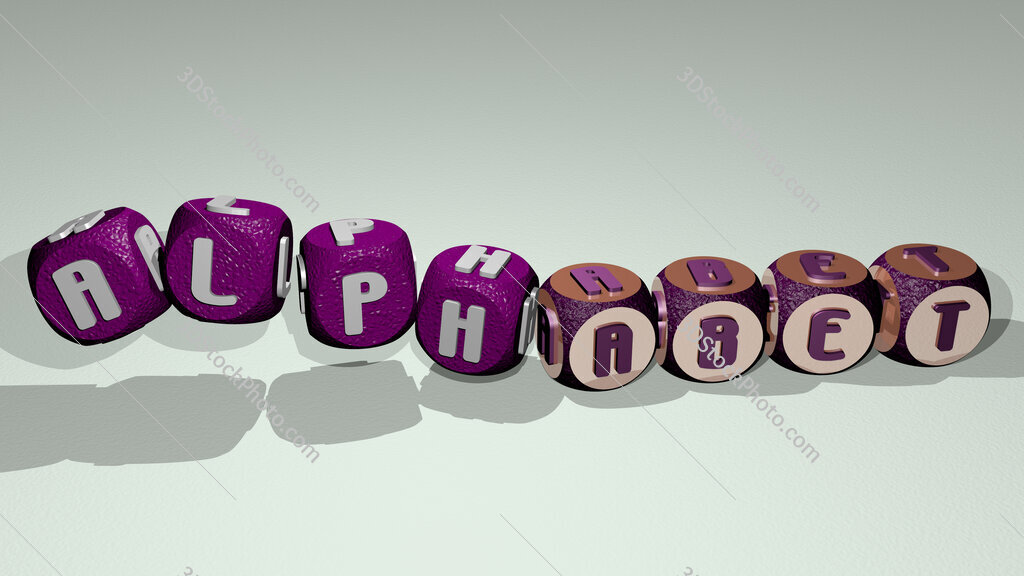 alphabet text by dancing dice letters