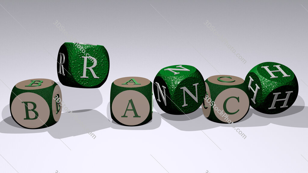 branch text by dancing dice letters