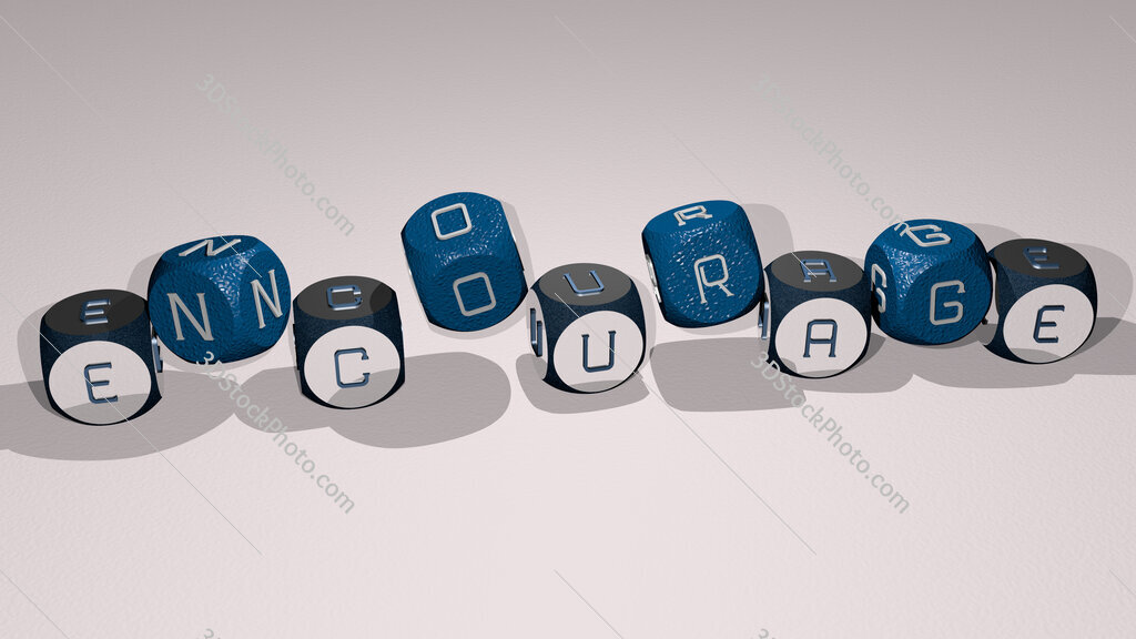 encourage text by dancing dice letters