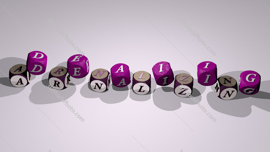 adrenalizing text by dancing dice letters