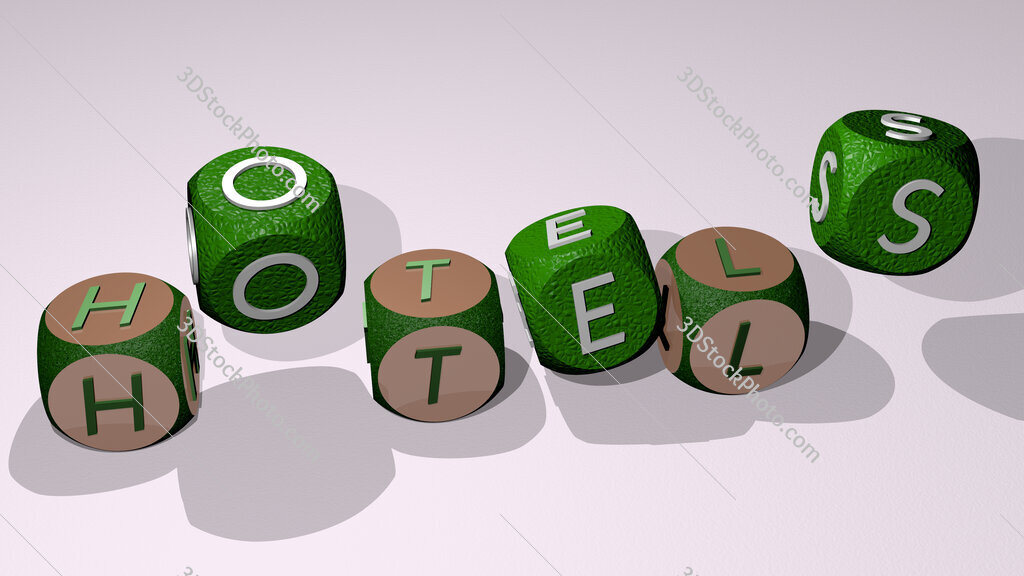 hotels text by dancing dice letters