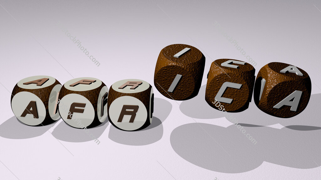 africa text by dancing dice letters
