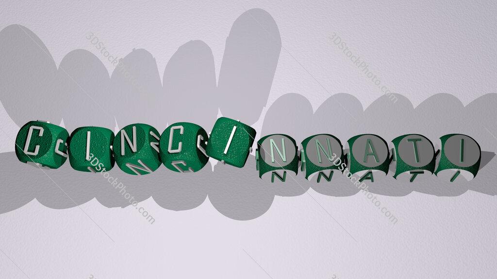 cincinnati text by dancing dice letters
