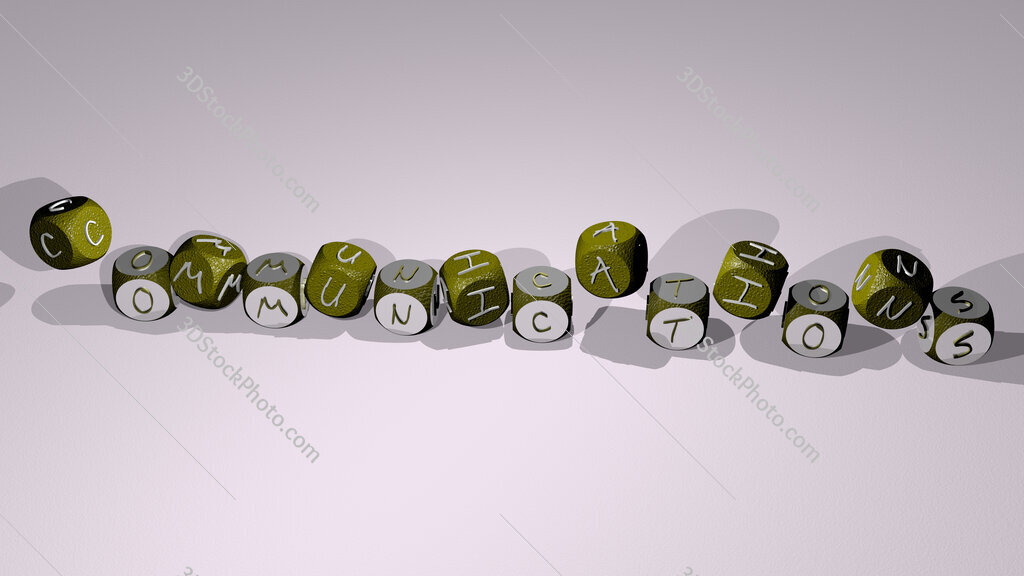 communications text by dancing dice letters