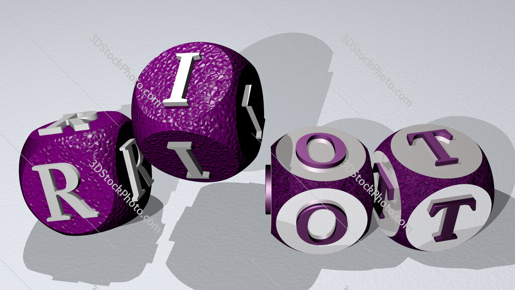 riot text by dancing dice letters