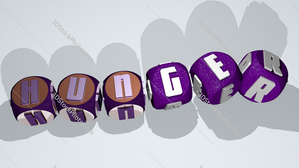 hunger text by dancing dice letters