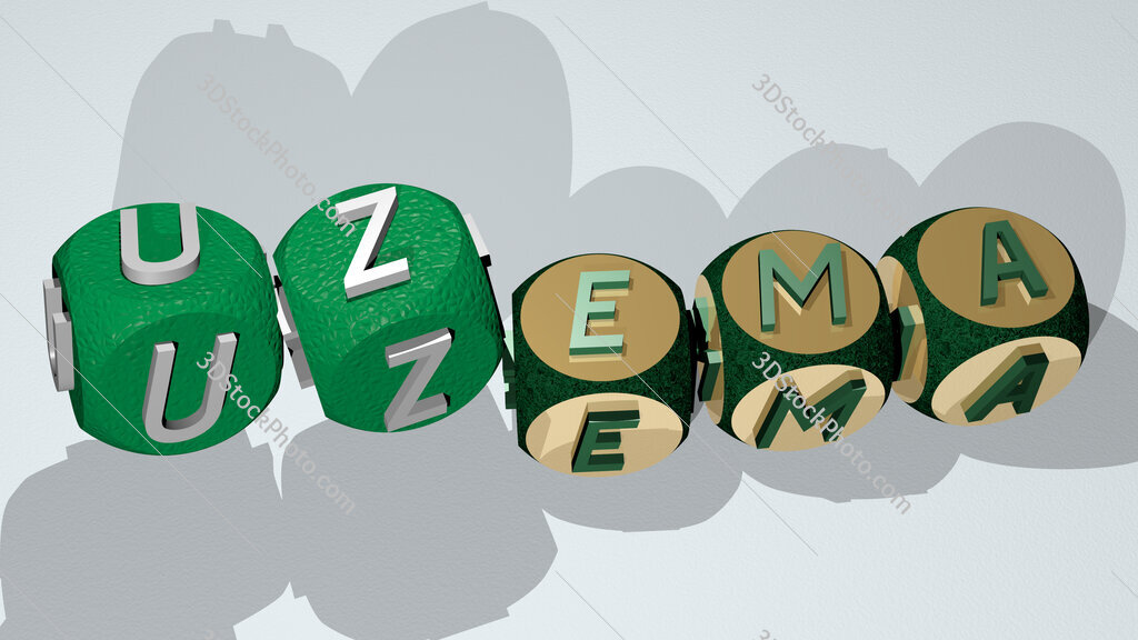 uzema text by dancing dice letters