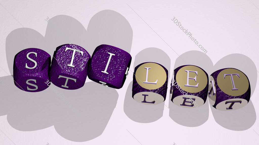 stilet text by dancing dice letters