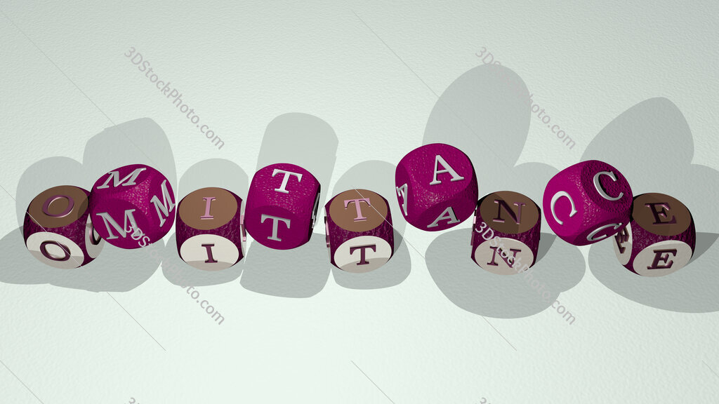 omittance text by dancing dice letters