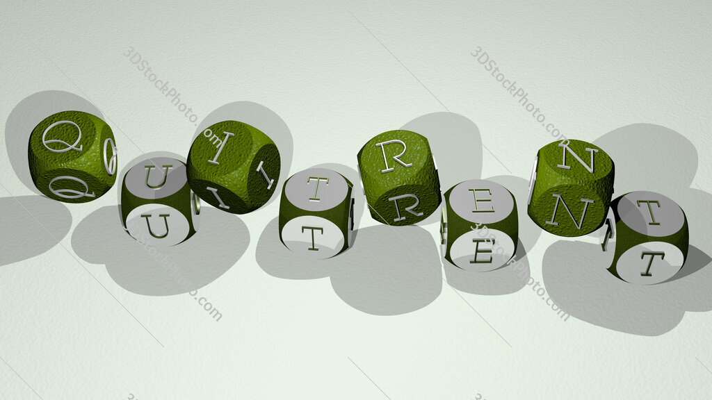 quitrent text by dancing dice letters