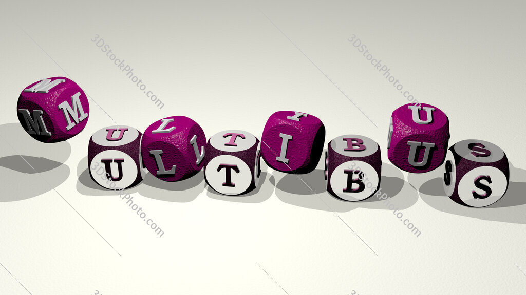 multibus text by dancing dice letters