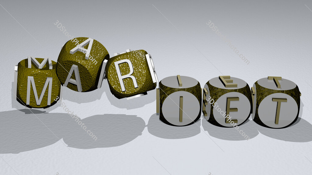 mariet text by dancing dice letters