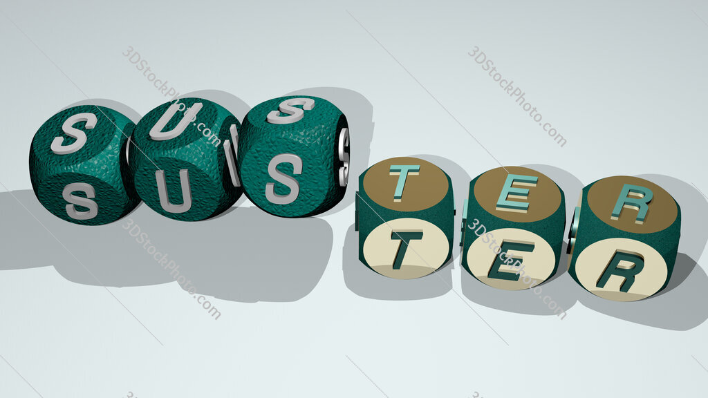 suster text by dancing dice letters