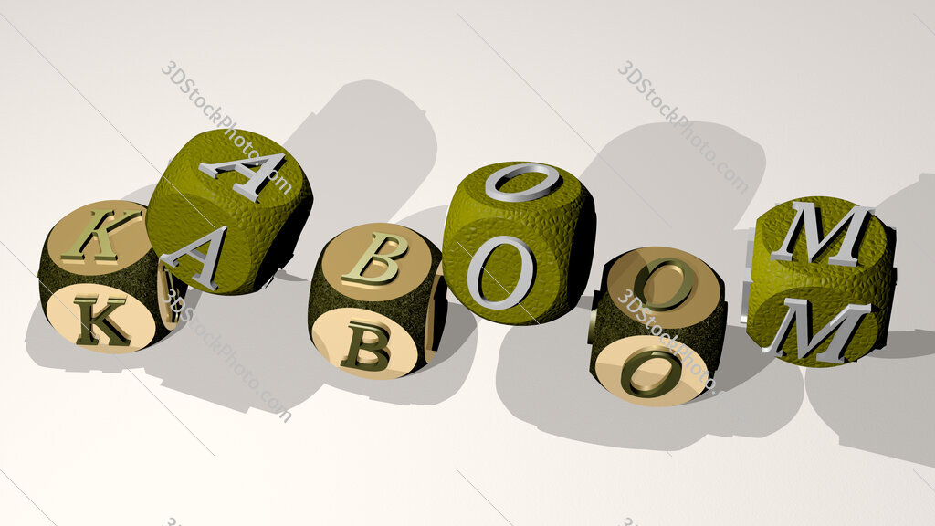 kaboom text by dancing dice letters