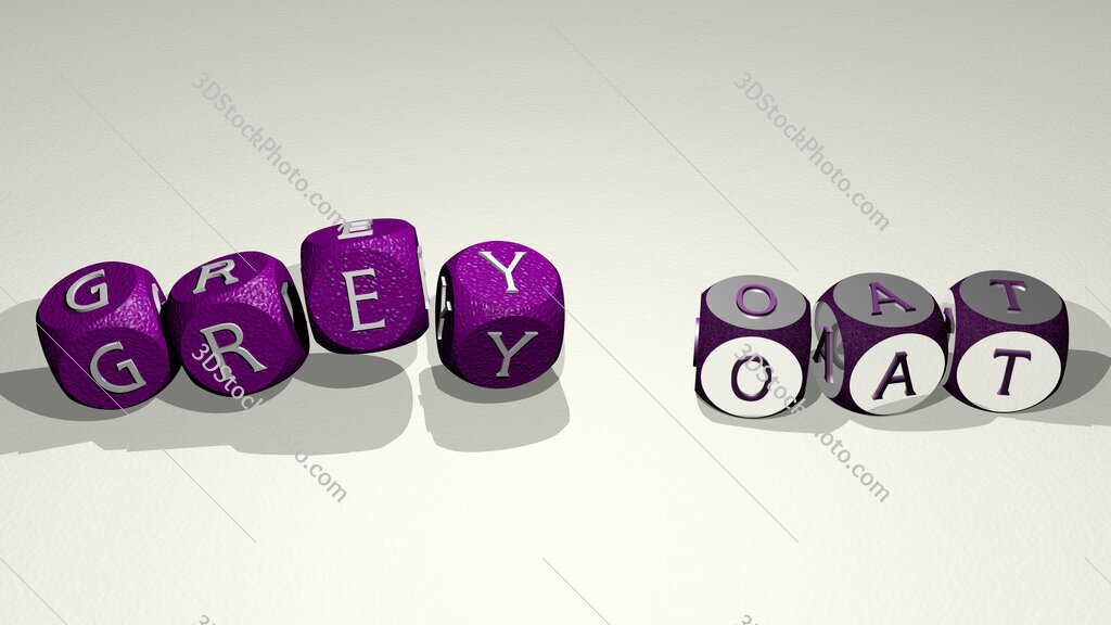 grey oat text by dancing dice letters