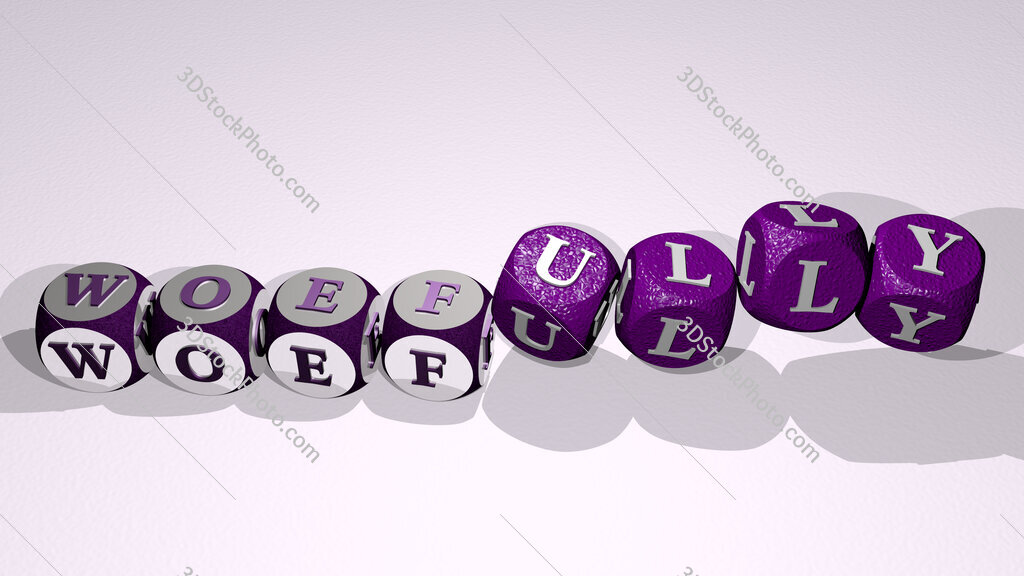 woefully text by dancing dice letters
