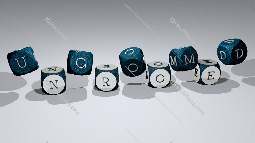 ungroomed text by dancing dice letters