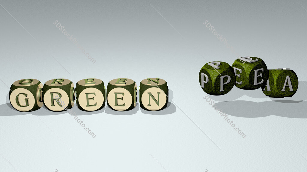 green pea text by dancing dice letters