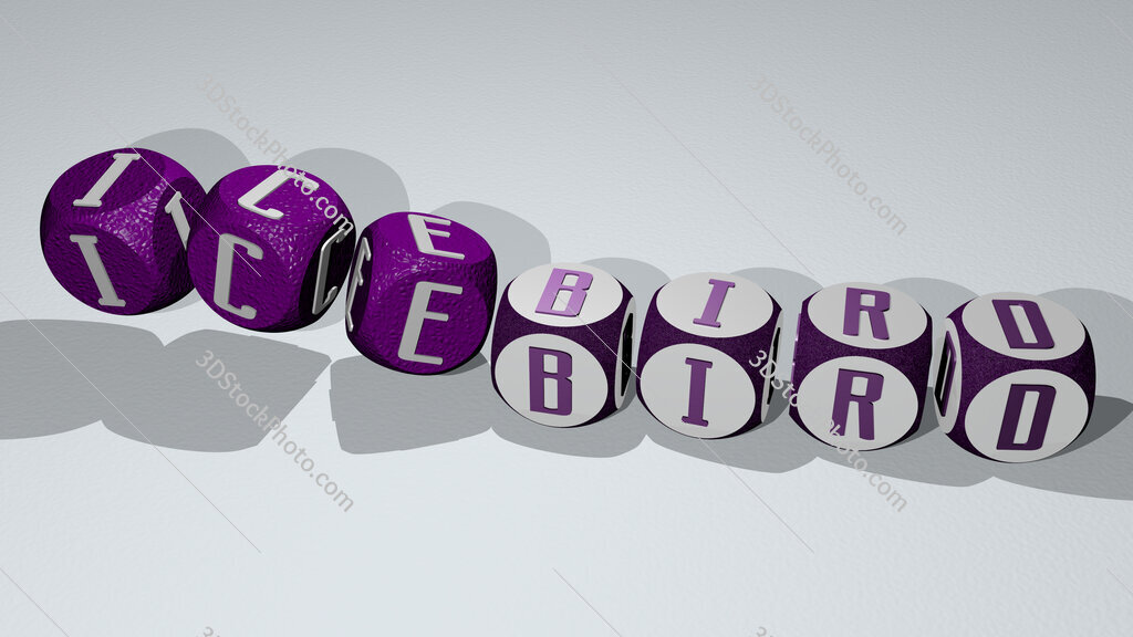 icebird text by dancing dice letters