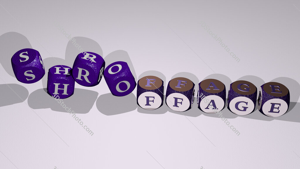 shroffage text by dancing dice letters
