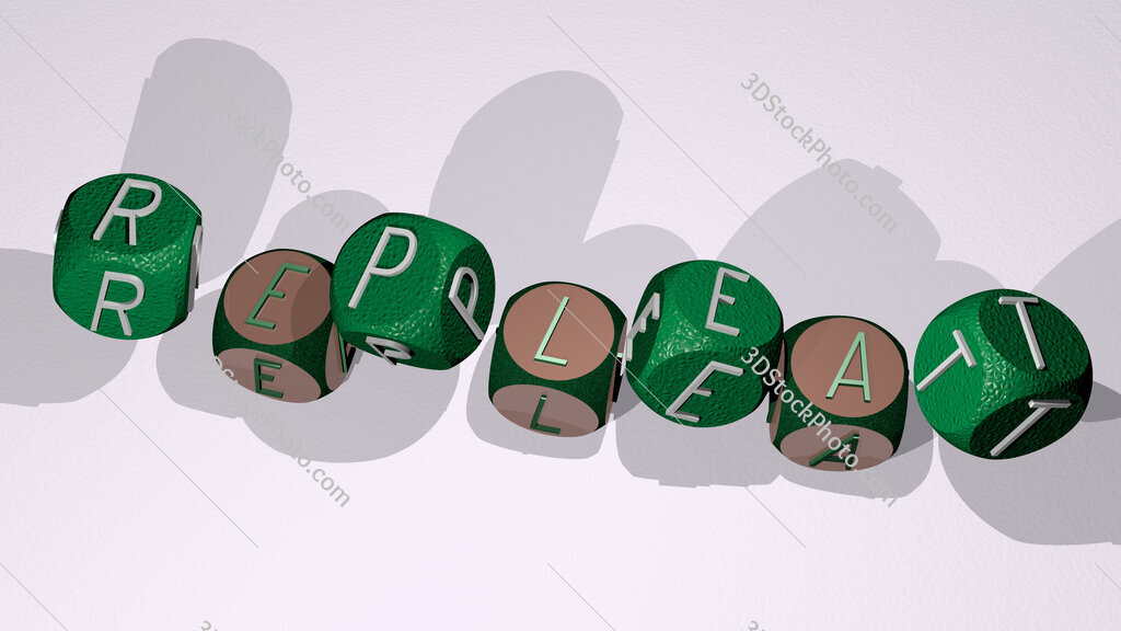 repleat text by dancing dice letters