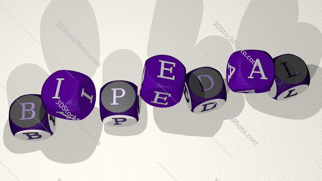 bipedal text by dancing dice letters