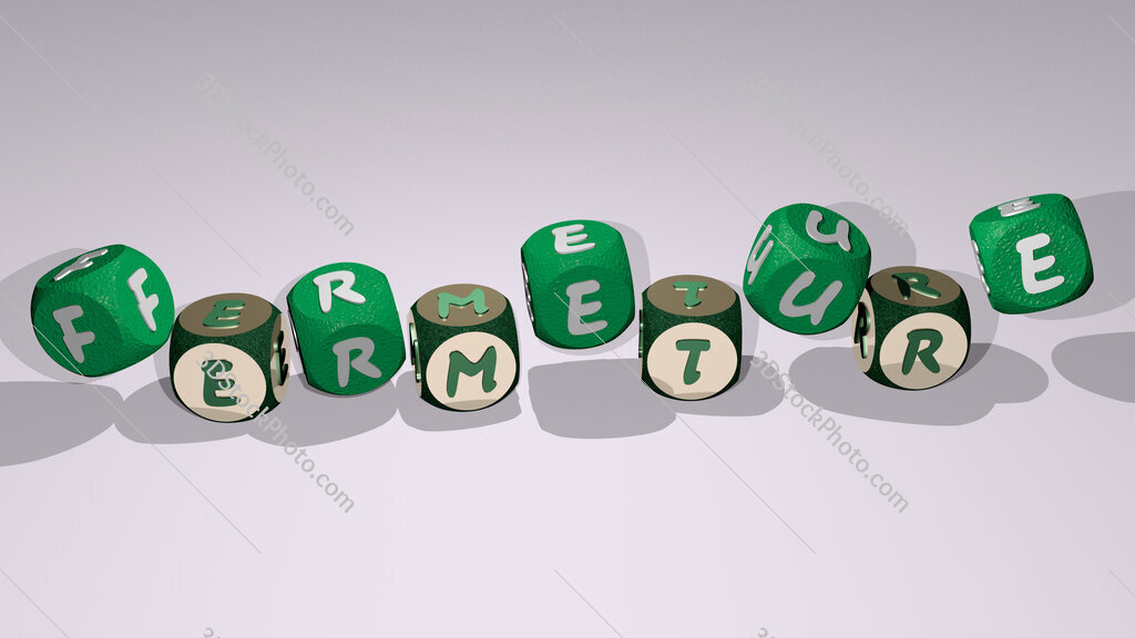 fermeture text by dancing dice letters