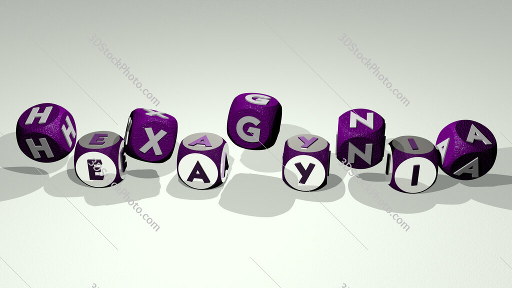 hexagynia text by dancing dice letters