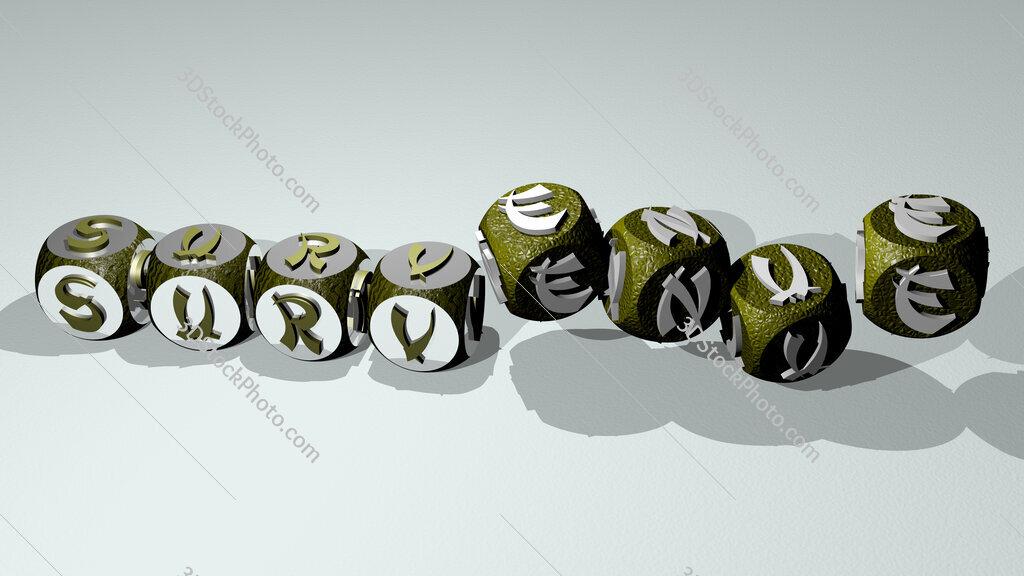 survenue text by dancing dice letters