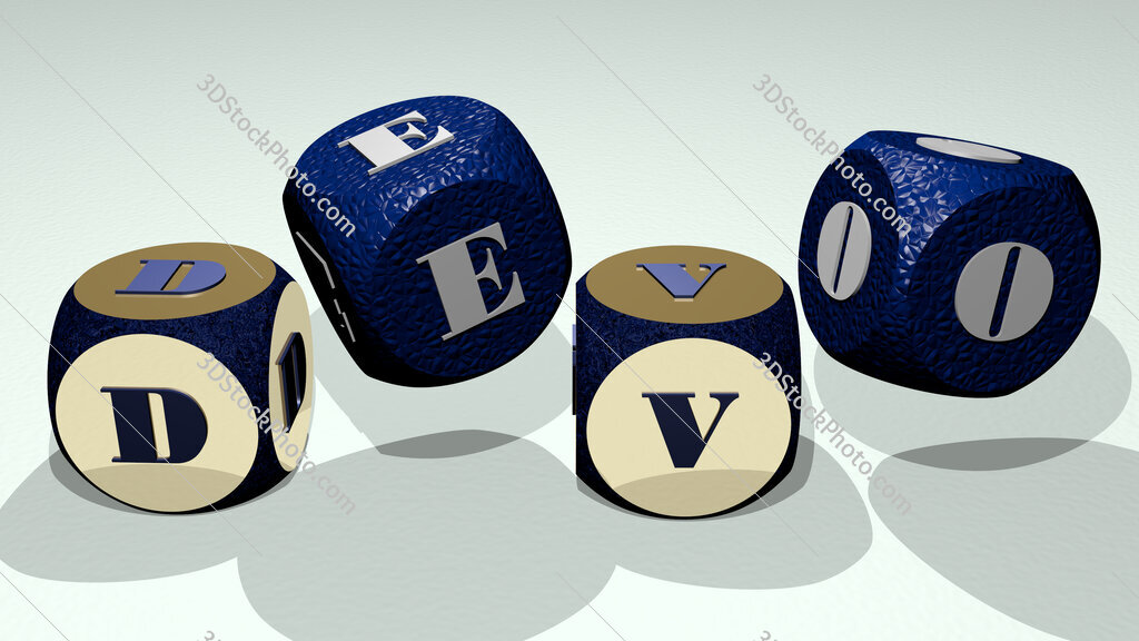 devo text by dancing dice letters