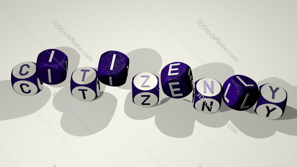citizenly text by dancing dice letters