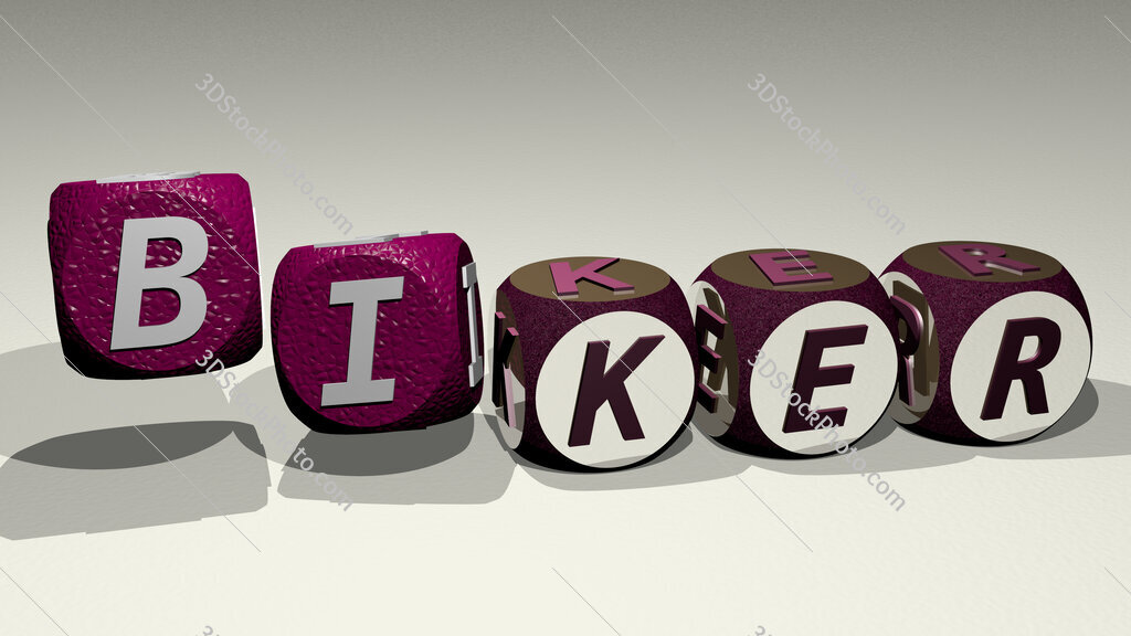 biker text by dancing dice letters