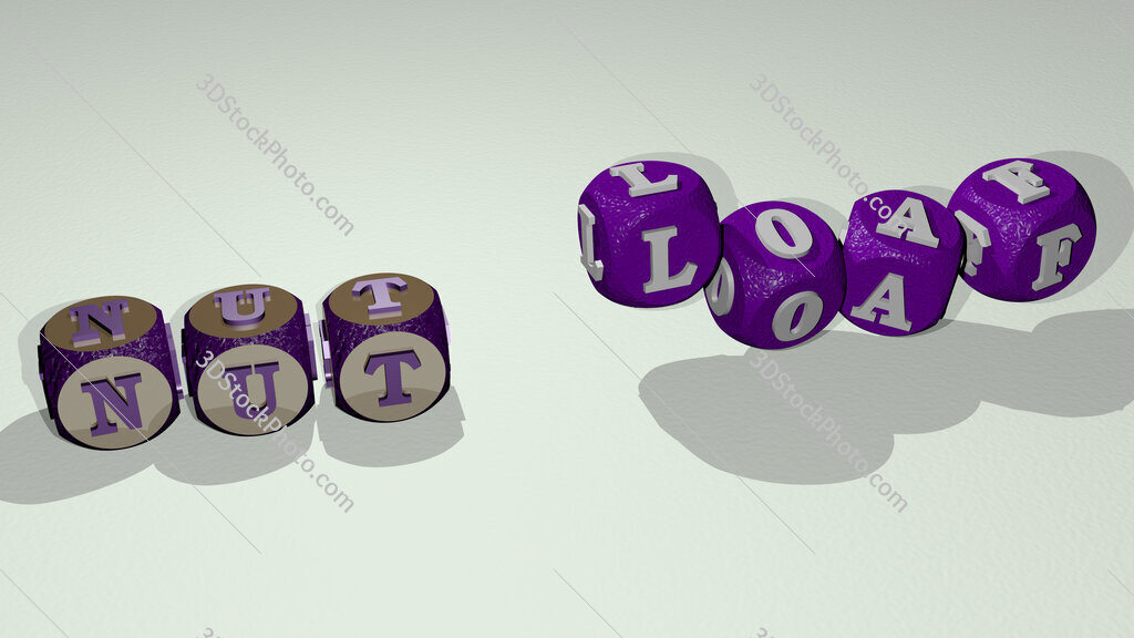 nut loaf text by dancing dice letters