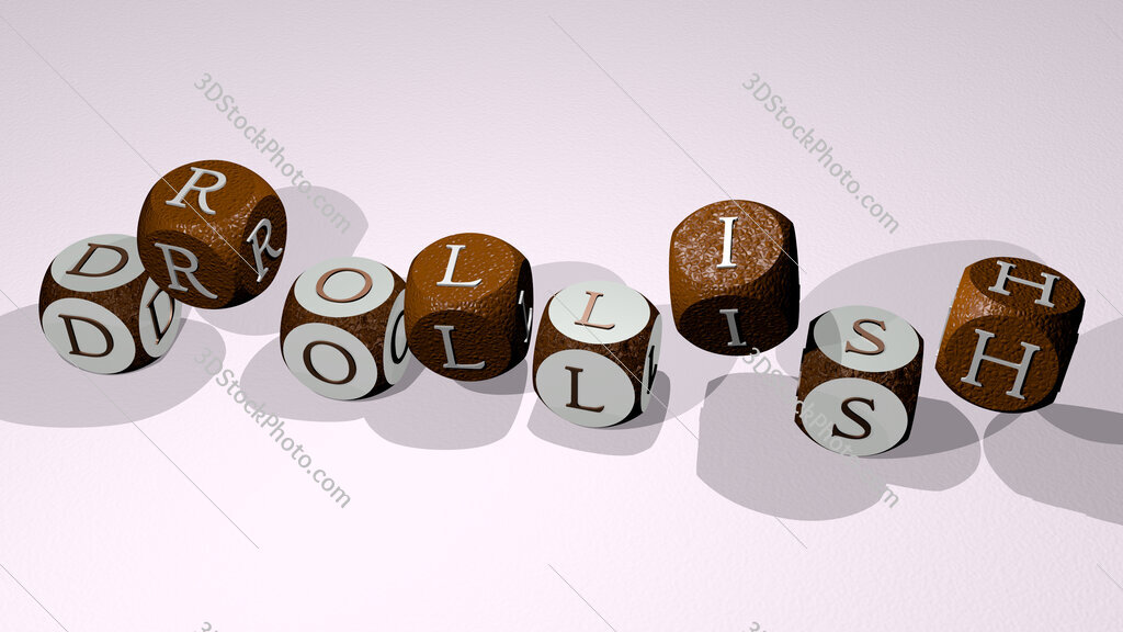 drollish text by dancing dice letters