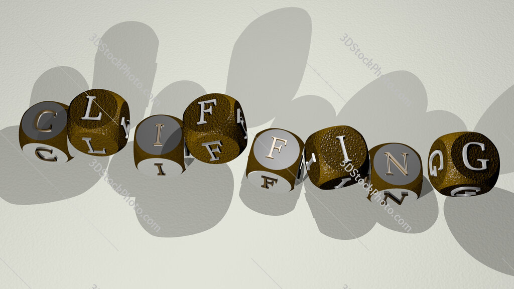 cliffing text by dancing dice letters