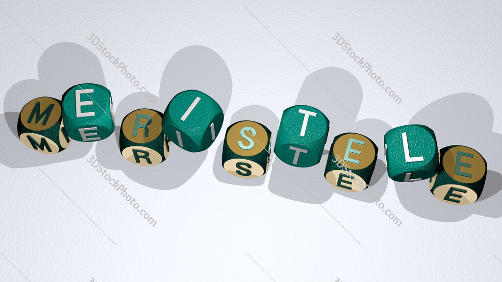meristele text by dancing dice letters