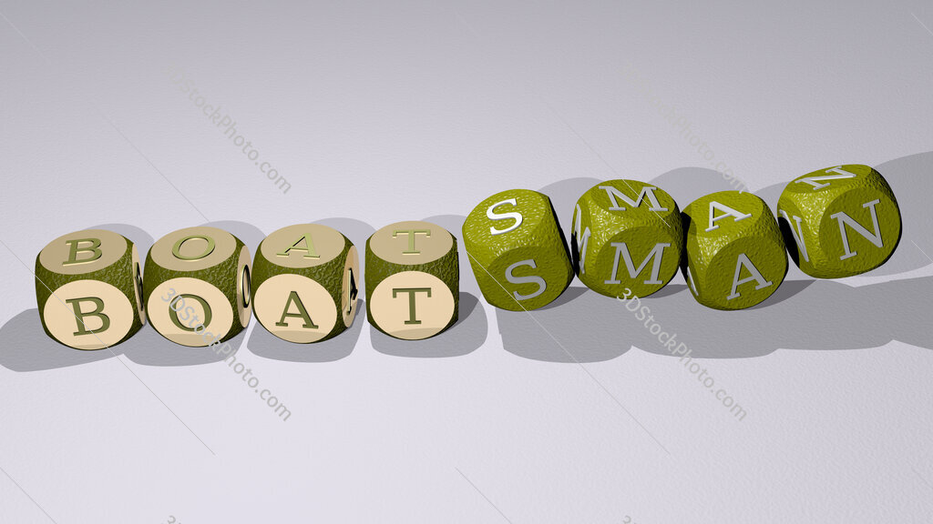 boatsman text by dancing dice letters
