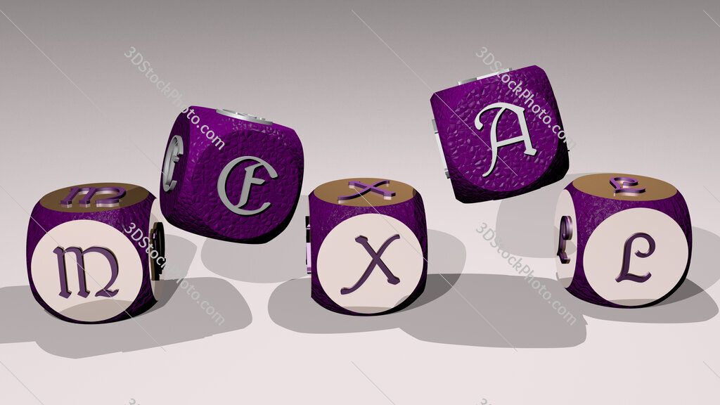 mexal text by dancing dice letters