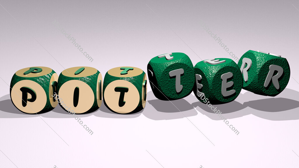 pitter text by dancing dice letters