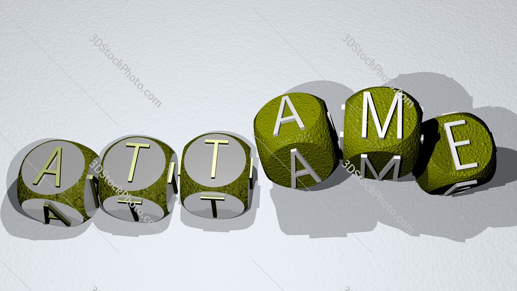 attame text by dancing dice letters