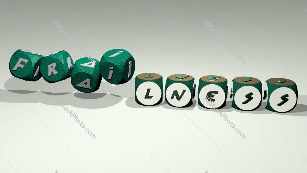 frailness text by dancing dice letters